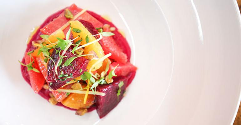 Roasted Beet Salad with Farro Verde and Beet Vinaigrette