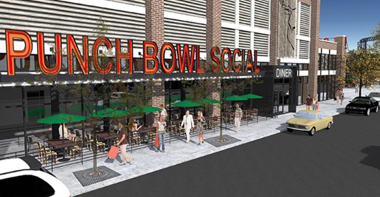 A rendering of the Punch Bowl Social expected to open in The Flats neighborhood of downtown Cleveland in June