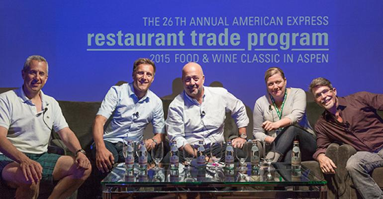 From left Danny Meyer Bobby Stuckey moderator Andrew Zimmern Ashley Christensen and Rick Bayless covered brand extensions quotfine casualquot and more on their panel