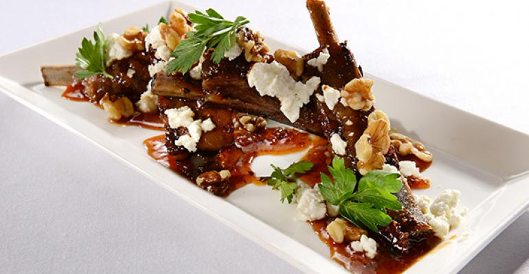 Maple and Fig Lamb Ribs with Goat Cheese and Walnut Dust