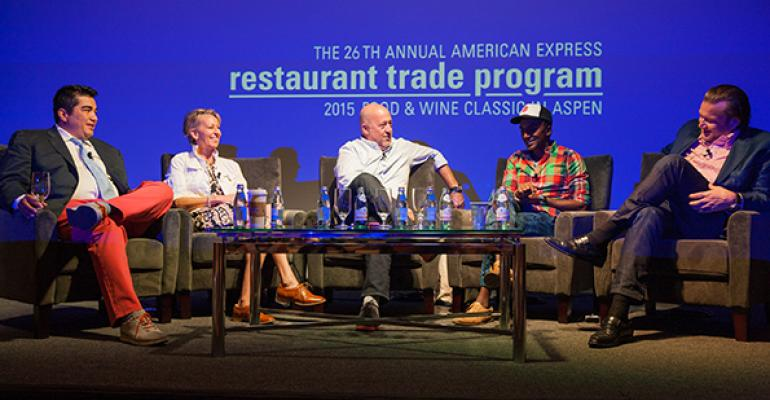 From left Top chefs Jose Garces Gabrielle Hamilton moderator Andrew Zimmern Marcus Samuelsson and Michael White compare notes in Aspen