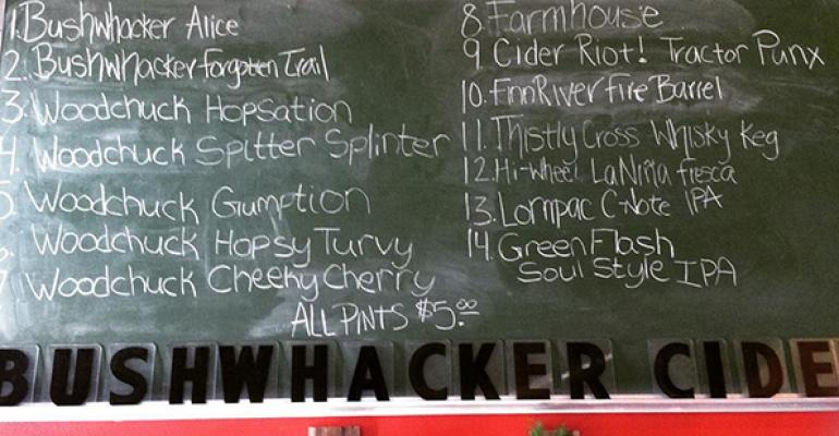 Some of the offerings at Portland39s Bushwhacker Cider