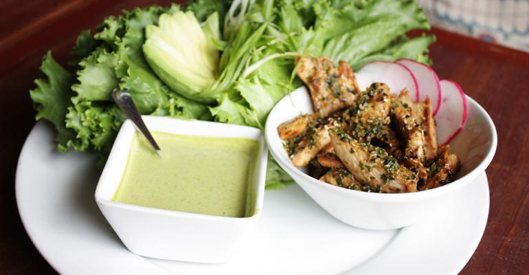 Chicken Lettuce Wraps with Cilantro Lime Sauce