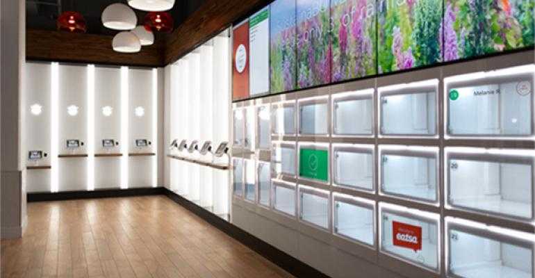 Eatsa ordering stations left and automatonstyle pickup cubbies right