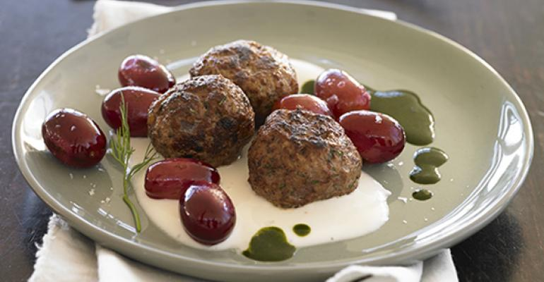 Lamb Meatballs with Blistered Grapes