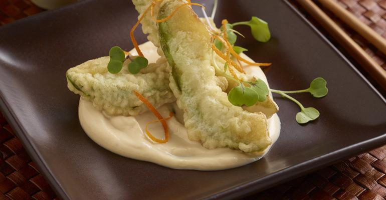Crispy Tempura Avocado with Yuzu-Spicy Tofu Cream