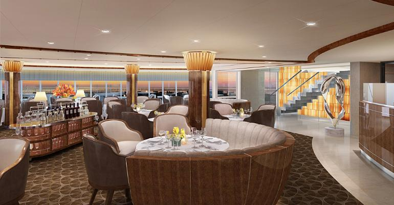 Rendering of the new signature restaurant The Grill by Thomas Keller aboard the Seabourn Encore