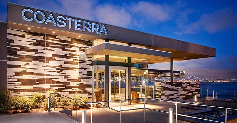 Coasterra has extensive outdoor space with views of the San Diego Bay