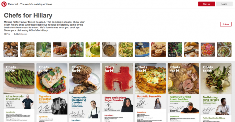 Pinterest recipes could end up on Clinton campaign event menus and house parties