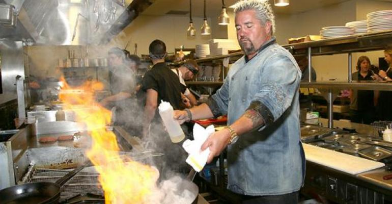 Guy Fieri like any good chef knows that kitchen fires are a key source of restaurant workplace injuries