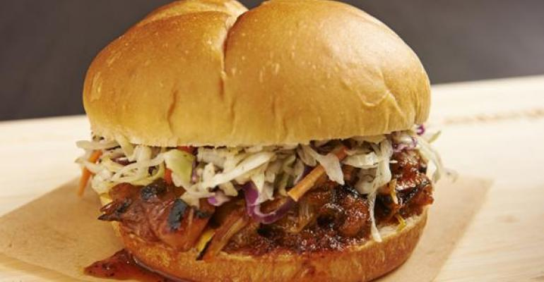 Plantbased proteins like jackfruit here in barbecued sandwich form will turn up on more menus in 2017 Photo Centerplate