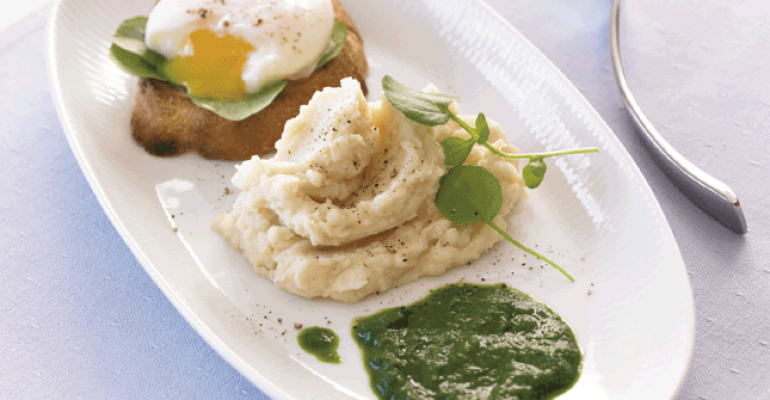 smoked mashed potatoes with poached egg and watercress puree