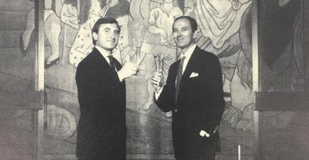 Four Seasons owners Julian Niccolilni and Alex Von Bidder in front of the Picasso curtain Tricorne.