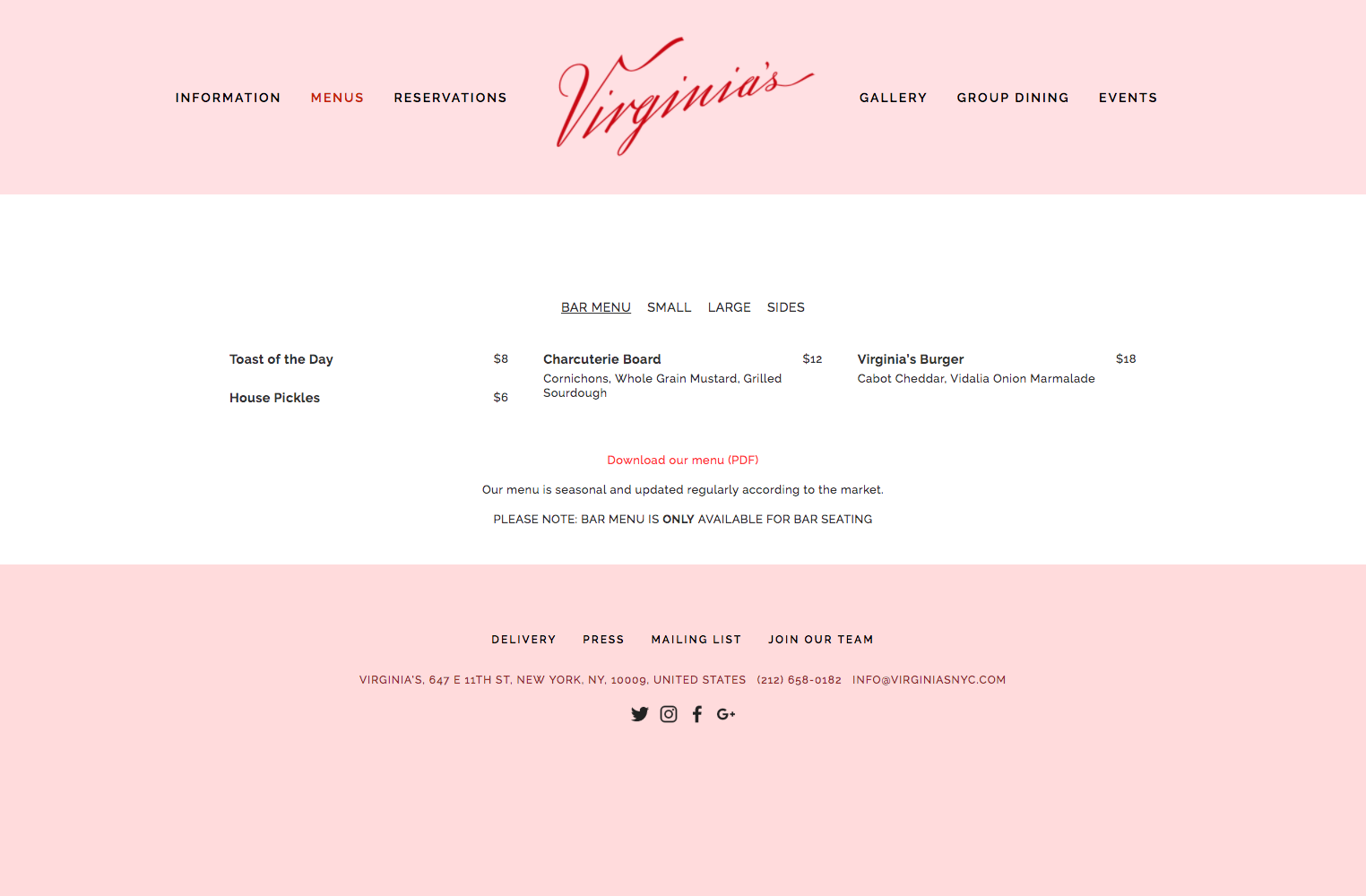 Virginia's website (http://www.virginiasnyc.com/) features an easy to find menu updated regularly.