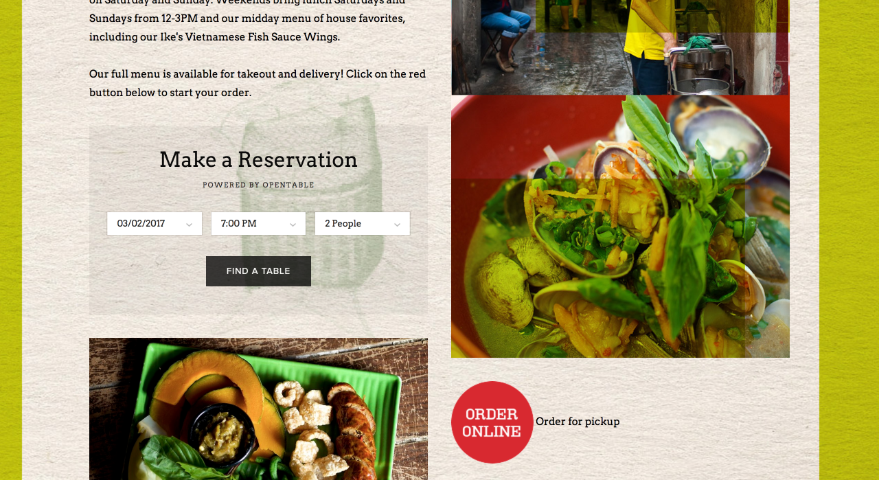 Pok Pok (http://www.pokpokpdx.com) gives customers the ability to easily make reservations by incorporating OpenTable directly into their website.