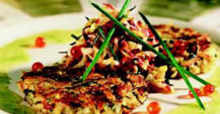 Idaho Potato, Crab and Onion Pancake