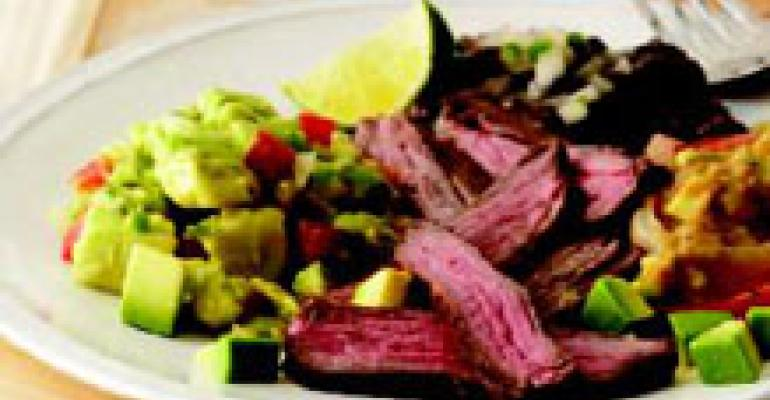 Grilled Skirt Steak with Tomatillo Salsa and Avocado