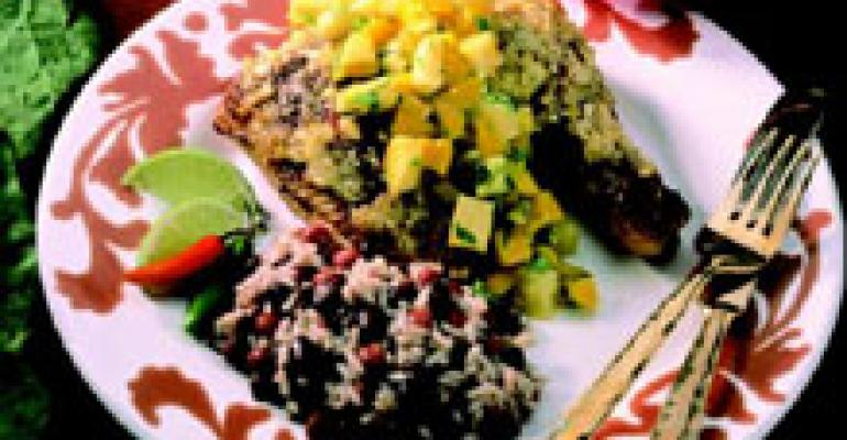Grilled Jerk Chicken with Pineapple-Mango Salsa