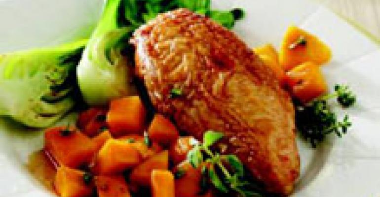 Soy-Marinated Roasted Chicken with Mangos