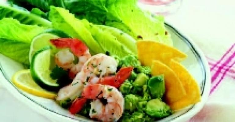 Seasoned Avocado, Shrimp and Romaine Salad