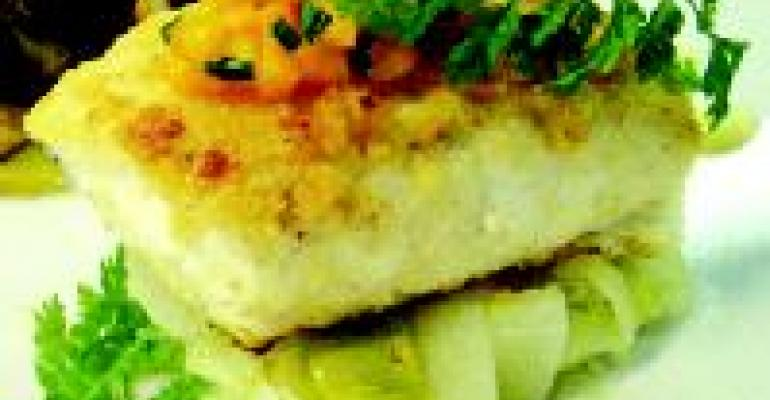 Hazelnut-Crusted Halibut with Artichokes and Papaya
