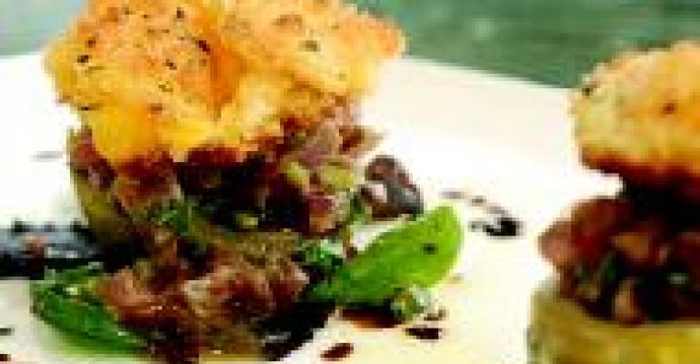 Stuffed Artichoke Hearts with Tuna Tartare and Fried Egg Yolk