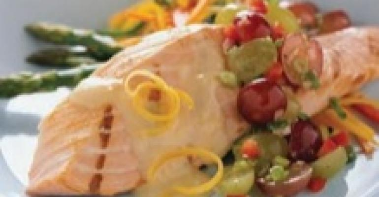 Fillet of Salmon with Grape Salsa Drizzled with Lemon Beurre Blanc