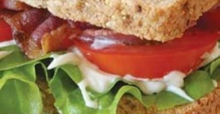 Basil, Bacon, Lettuce, Tomato Sandwich