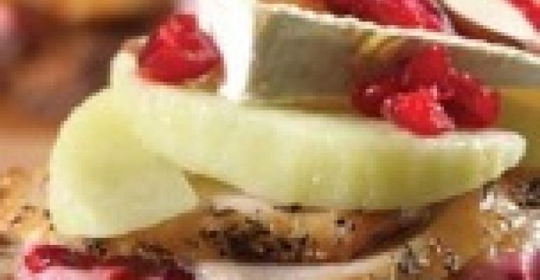 Open-Faced Turkey and Brie with CranberryVodka Mayonnaise and Warm Apples