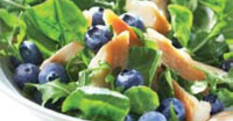 Blueberry and Smoked Trout Arugula Salad