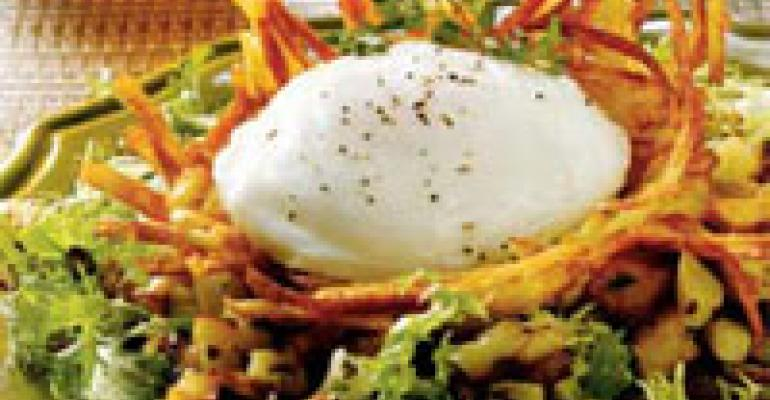 Egg in a Nest with Corned Duck Hash