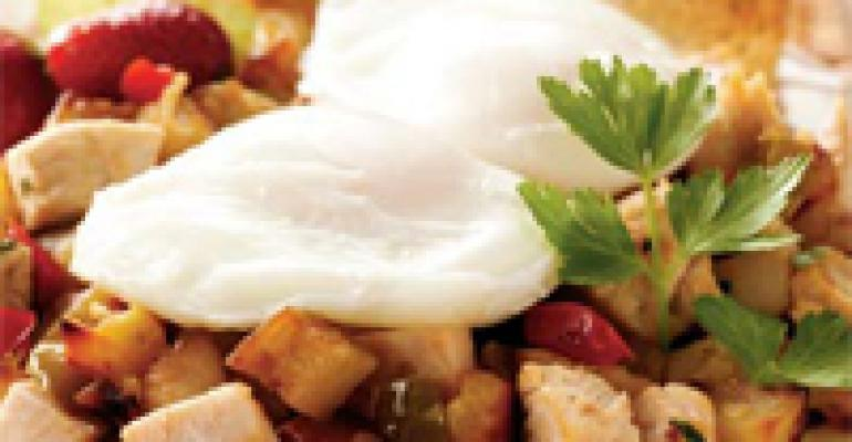 Sweet Potato Turkey Hash and Poached Eggs