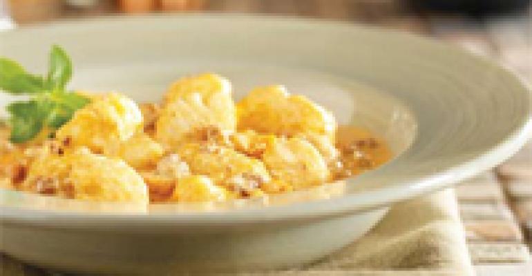 Idaho Potato Gnocchi in Horseradish Cream and Bolognese