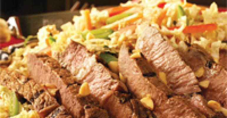 Peanut-Marinated Ribeye with Asian Slaw