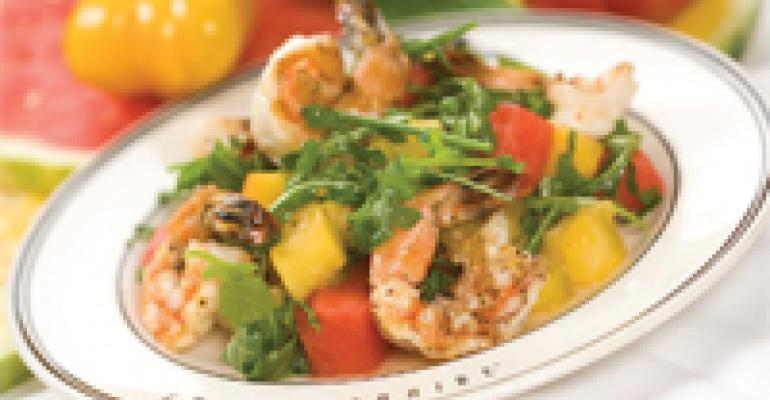 Grilled Mexican Shrimp and Watermelon Salad