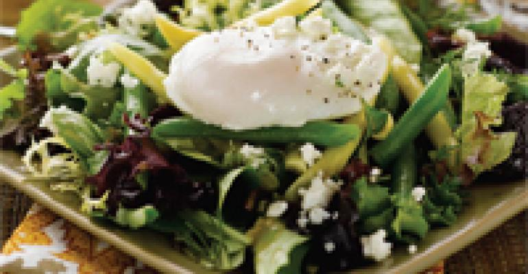 Warm Garden Bean, Goat Cheese and Poached Egg Salad