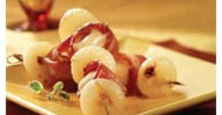 Bacon-Wrapped Wisconsin Menage with Honey-Glazed Cipollini Onion Skewers