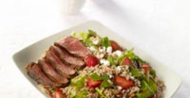 Strawberry-Walnut Jasmine Rice Salad with Balsamic Steak