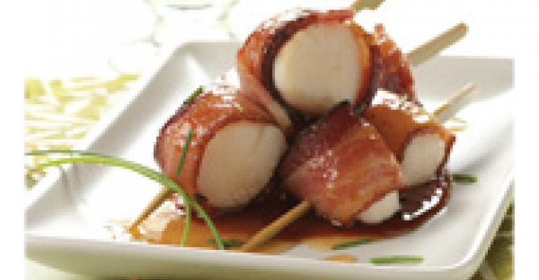 Scallop Skewers with Applewood Smoked Bacon and Lehua Honey Glaze