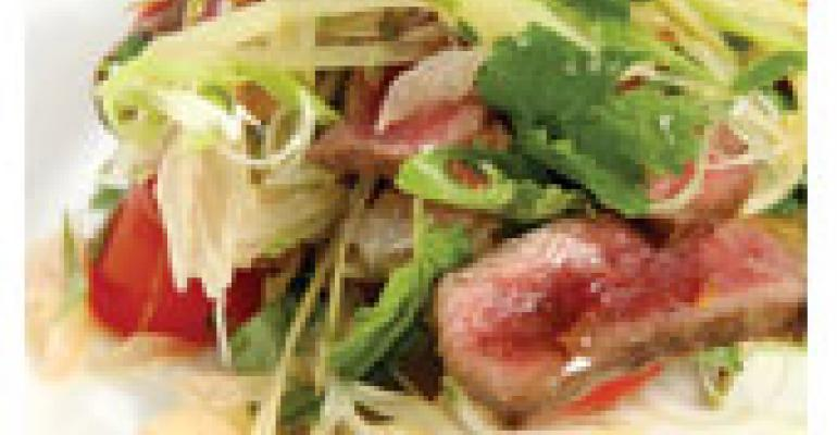 Spicy Venison Salad with Pomelo and Pickled Mango