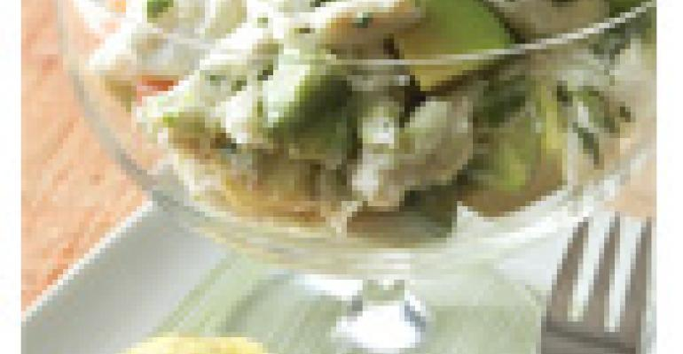 Crab Avocado Parfait with Zesty Plantain Chips