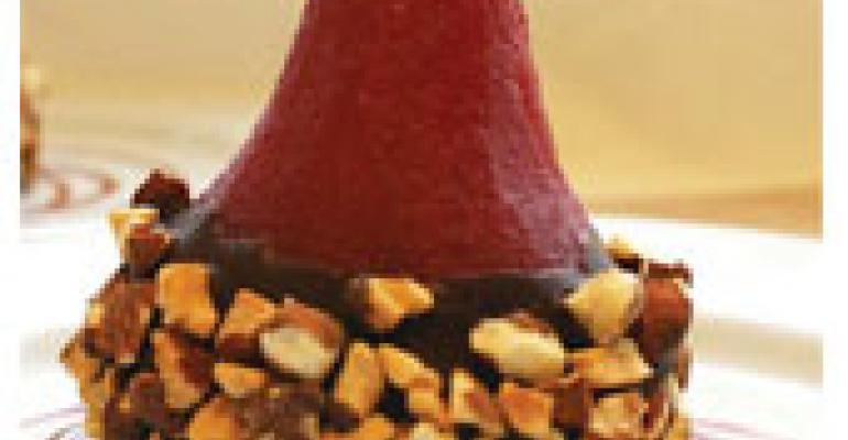Chocolate-Dipped Raspberry Port Poached Pear