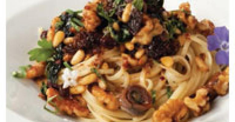 Spaghetti Corleonese (Pasta with Nuts, Raisins and Anchovies)