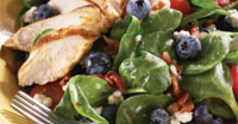 Blueberry and Spinach Salad with Hot Bacon Dressing