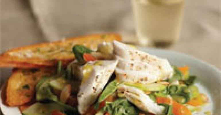 Wild Alaska Halibut Salad with Baby Spinach, Apple, Apricot, Almonds and Cider Vinaigrette