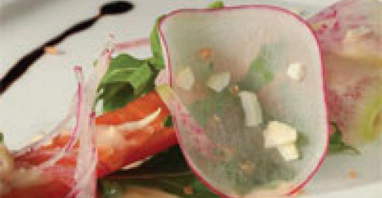 Lime Vinaigrette Salad with Sprinkled Green Garlic