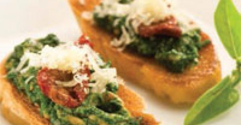 Spinach and Sunflower Pesto Crostini