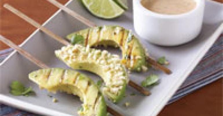 Peanut Crusted Red Curry California Avocado Satay