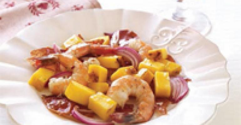 Caramelized Mango with Crispy Serrano Ham and Jumbo Shrimp