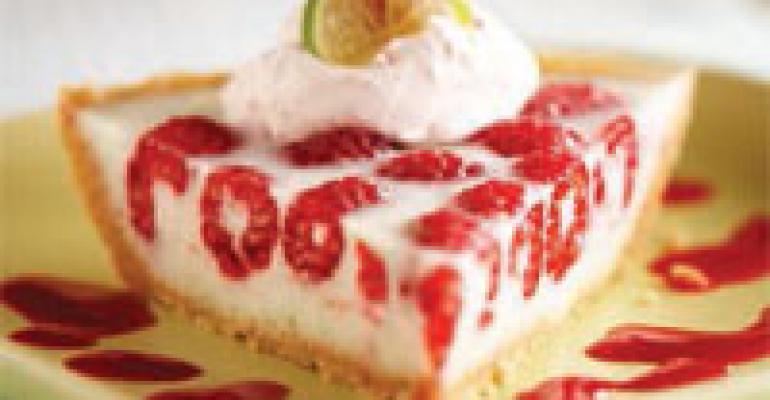 Raspberry Key Lime Pie with Raspberry-Tequila Sauce